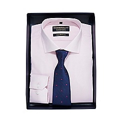 Hammond & Co. by Patrick Grant - Luxury pink textured shirt with a navy polka dot tie