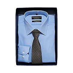 Hammond & Co. by Patrick Grant - Luxury blue textured shirt with a taupe leaf pattern tie