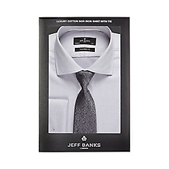 Jeff Banks - Big and tall luxury grey textured tailored fit shirt with a tie
