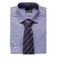 Blue textured shirt and tie set