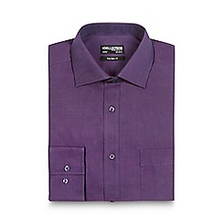 The Collection - Big and tall dark purple tailored fit shirt