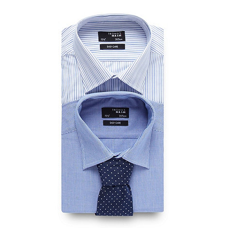 Thomas Nash - Big and tall pack of two blue pattern shirts and tie set