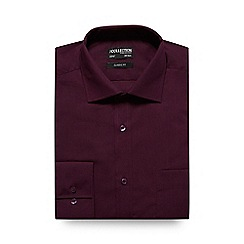 The Collection - Big and tall dark red plain classic fit shirt