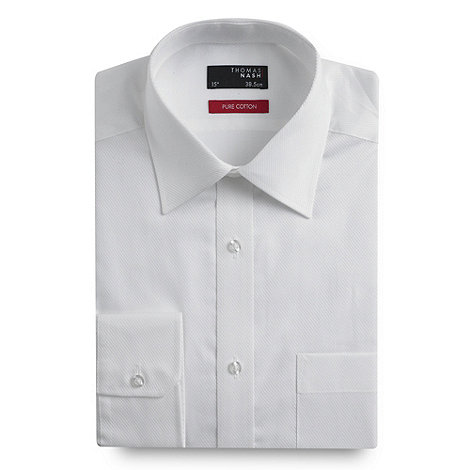 Thomas Nash - White textured twill long sleeve shirt