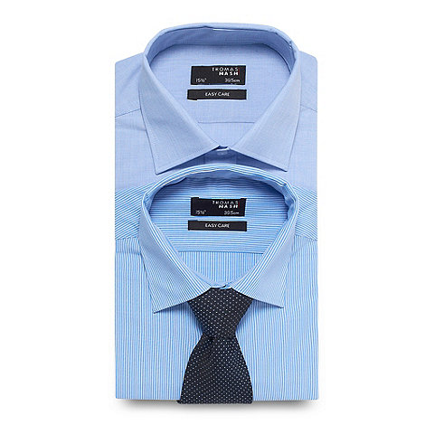 Thomas Nash - Set of two blue easy care shirts and tie