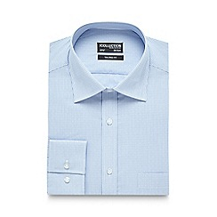 The Collection - Big and tall blue dobby striped tailored fit shirt