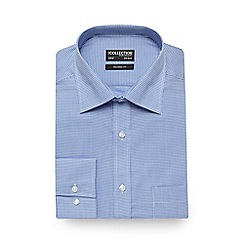 The Collection - Big and tall blue dogtooth print tailored fit shirt