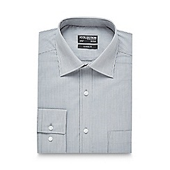 The Collection - Big and tall grey fine striped print easy care regular fit shirt