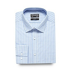 The Collection - Light blue checked print slim fit shirt