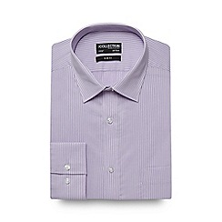 The Collection - Big and tall lilac dobby texture striped print slim fit shirt
