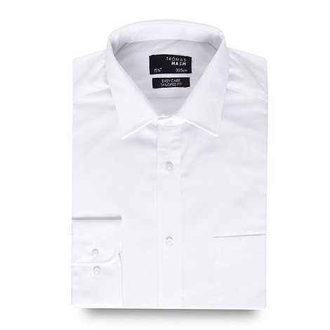 Thomas Nash - Big and tall white plain long sleeved shirt