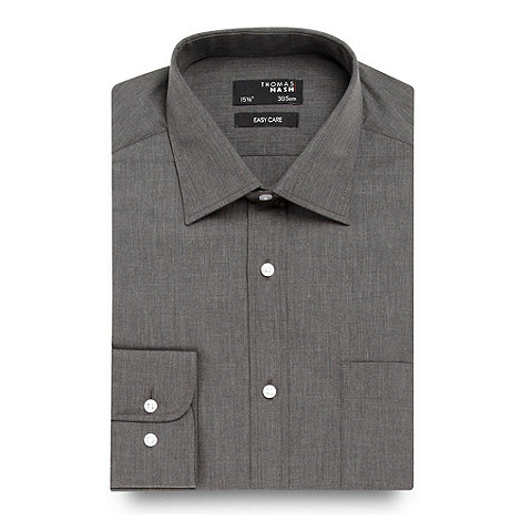 Thomas Nash - Big and tall dark grey plain long sleeved shirt
