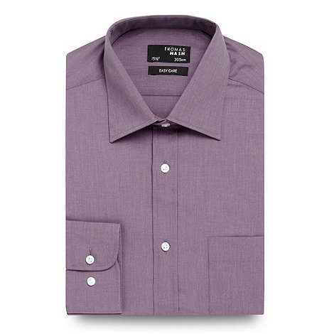 Thomas Nash - Purple plain long sleeved shirt