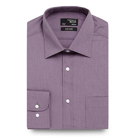Thomas Nash - Purple plain long sleeved shirt