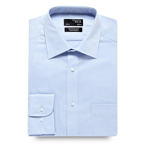 Thomas Nash - Big and tall blue twill regular fit long sleeved shirt