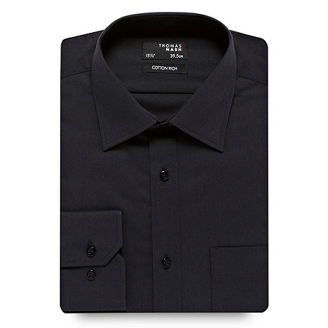 Thomas Nash - Black non iron diagonal striped shirt