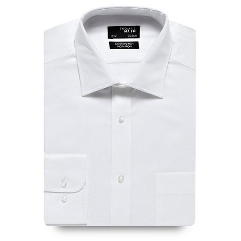 Thomas Nash - Big and tall white twill regular fit long sleeved shirt