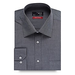 Thomas Nash - Big and tall grey grid textured shirt