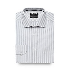 The Collection - Big and tall white striped print tailored fit shirt