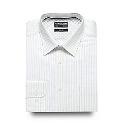 The Collection - Big and tall white and purple striped stitch slim fit shirt