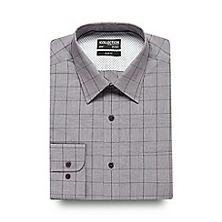 The Collection - Big and tall dark red checked print slim fit shirt