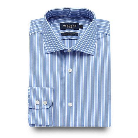 Osborne - Big and tall blue varied stripe shirt