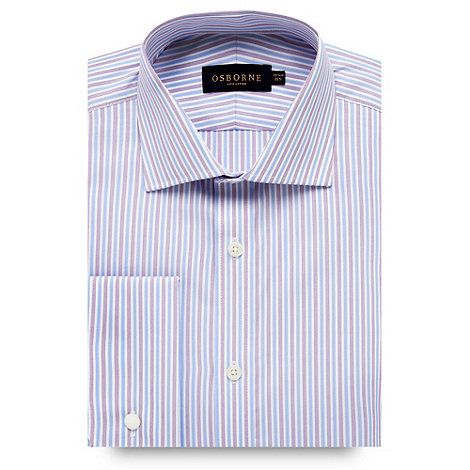 Osborne - Blue contrast striped shirt