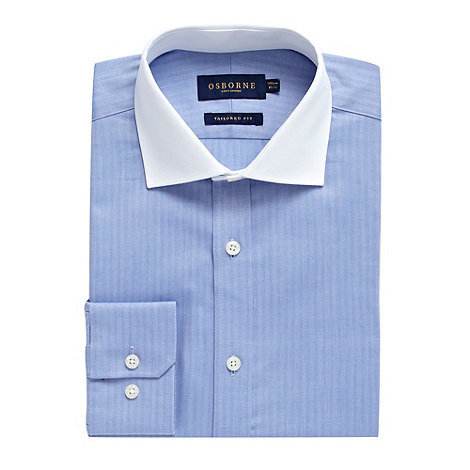 Osborne - Blue herringbone striped shirt