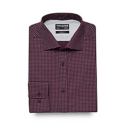 The Collection - Dark red diamond print dobby texture tailored fit shirt