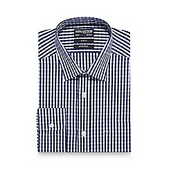 The Collection - Navy gingham print slim fit shirt