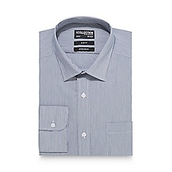 The Collection - Big and tall grey fine striped print slim fit shirt
