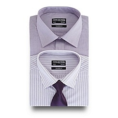 The Collection - Big and tall pack of two purple striped print tailored fit shirt with a tie