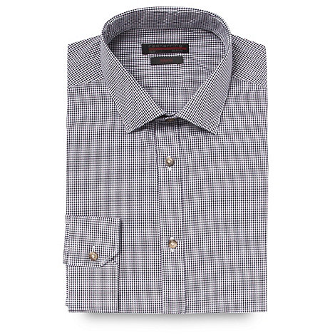 Red Herring Red Line - Purple fine gingham checked slim fit button cuffed shirt