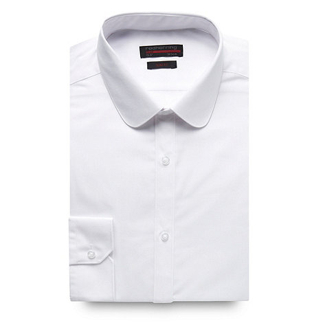 Red Herring Red Line - White long sleeved slim fit button cuffed shirt