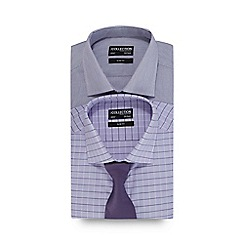The Collection - Pack of two purple striped and lilac window pane print slim fit shirts with a textured tie