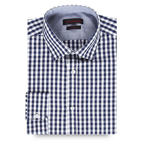 Red Herring Red Line - Navy gingham slim fit button cuffed shirt