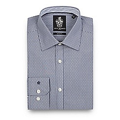 Jeff Banks - Big and tall navy dobby texture slim fit shirt