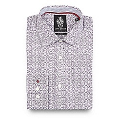 Jeff Banks - Dark purple floral print slim fit shirt