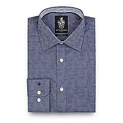 Jeff Banks - Navy striped print jacquard tailored fit shirt