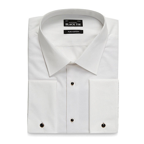 Black Tie - Big and tall white textured double cuff shirt