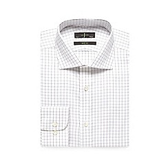 J by Jasper Conran - Big and tall white checked print slim fit shirt