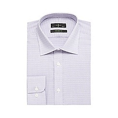J by Jasper Conran - Big and tall dark purple dobby textured gingham print shirt