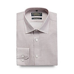 Hammond & Co. by Patrick Grant - Dark rose grid checked print tailored fit shirt