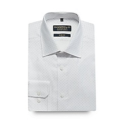 Hammond & Co. by Patrick Grant - Big and tall white spot print slim fit shirt