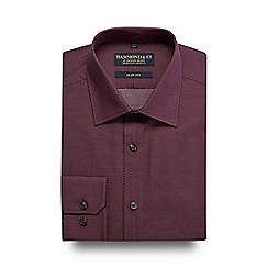 Hammond & Co. by Patrick Grant - Dark red diamond patterned slim fit shirt