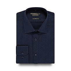 Hammond & Co. by Patrick Grant - Navy textured patterned tailored fit shirt