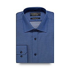 Hammond & Co. by Patrick Grant - Navy herringbone print tailored fit shirt