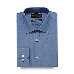 Hammond & Co. by Patrick Grant - Blue dobby textured striped tailored fit shirt