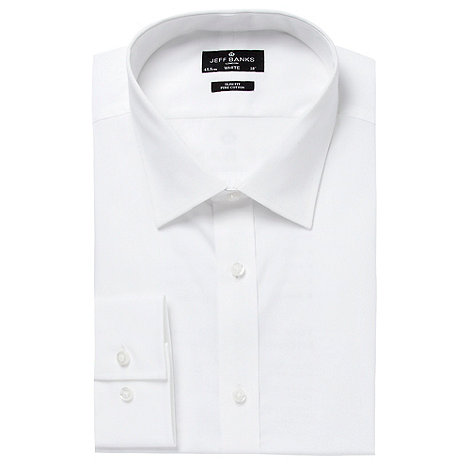 Jeff Banks - Designer white slim modernist collar shirt