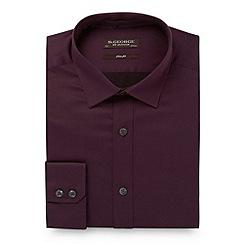 St George by Duffer - Dark purple slim fit plain sateen shirt